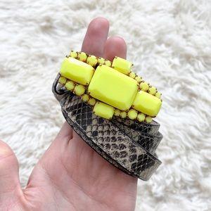 C. Wonder Neon Buckle Snake Effect Leather Belt